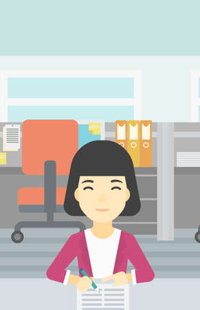 signing: An asian young woman signing business documents in office. Woman is about to sign a business agrement. Confirmation of business transaction. Vector flat design illustration. Vertical layout. Illustration