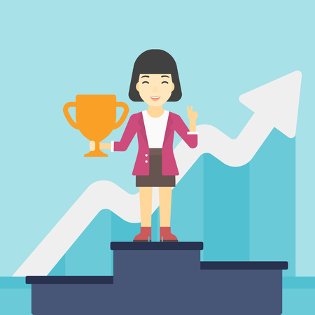 An asian business woman standing on a pedestal with winner cup. Business woman celebrating her business award. Business award concept. Vector flat design illustration. Square layout.