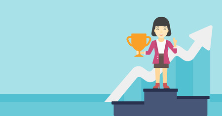 An asian business woman standing on a pedestal with winner cup. Business woman celebrating her business award. Business award concept. Vector flat design illustration. Horizontal layout. Illustration