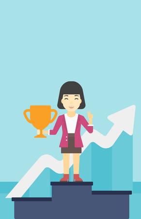 asian business: An asian business woman standing on a pedestal with winner cup. Business woman celebrating her business award. Business award concept. Vector flat design illustration. Vertical layout.