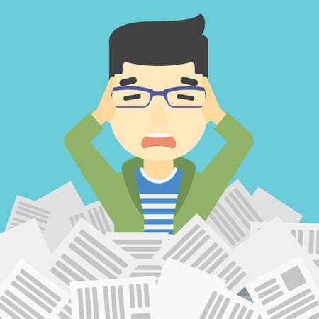 overwhelmed: An asian stressed man clutching his head because of having a lot of work to do. Busy businessman with lots of papers. Vector flat design illustration. Square layout.