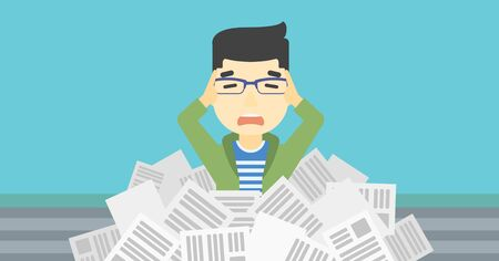 overwhelmed: An asian stressed man clutching his head because of having a lot of work to do. Busy businessman with lots of papers. Vector flat design illustration. Horizontal layout.