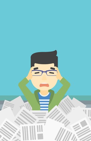 overwhelmed: An asian stressed man clutching his head because of having a lot of work to do. Busy businessman with lots of papers. Vector flat design illustration. Vertical layout. Illustration