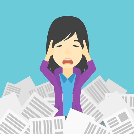 lots: An asian stressed business woman clutching her head because of having a lot of work to do. Busy business woman with lots of papers. Vector flat design illustration. Square layout.