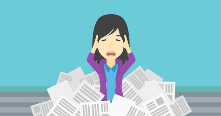 newspaper stack: An asian stressed business woman clutching her head because of having a lot of work to do. Busy business woman with lots of papers. Vector flat design illustration. Horizontal layout.