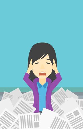 An asian stressed business woman clutching her head because of having a lot of work to do. Busy business woman with lots of papers. Vector flat design illustration. Vertical layout.