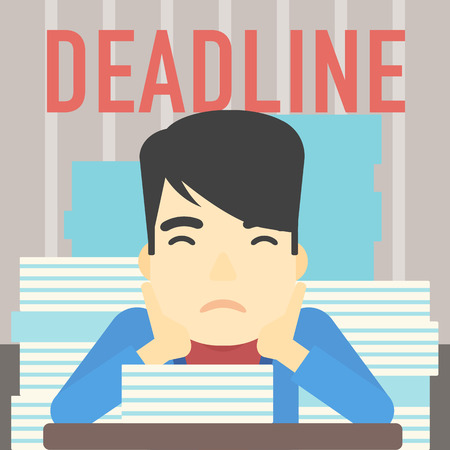 stressed businessman: An asian stressed businessman sitting at the table with stacks of papers. Businessman having problem with deadline. Deadline concept. Vector flat design illustration. Square layout.