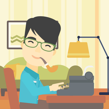 article writing: An asian journalist writing an article on a vintage typewriter on the background of living room. Journalist at work smoking pipe. Vector flat design illustration. Square layout.