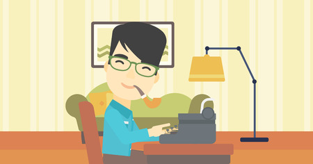 article writing: An asian journalist writing an article on a vintage typewriter on the background of living room. Journalist at work smoking pipe. Vector flat design illustration. Horizontal layout.