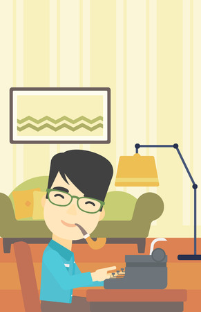 article writing: An asian journalist writing an article on a vintage typewriter on the background of living room. Journalist at work smoking pipe. Vector flat design illustration. Vertical layout. Illustration