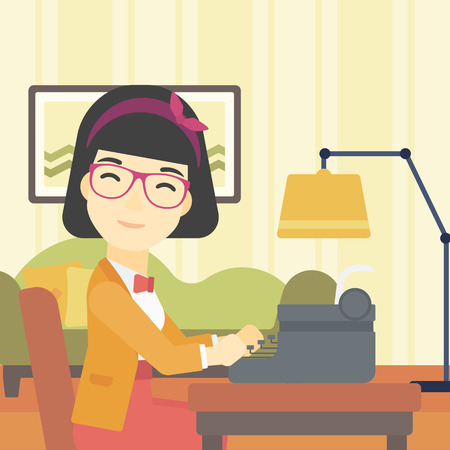 article writing: An asian female journalist writing an article on a vintage typewriter on the background of living room. Female journalist at work smoking pipe. Vector flat design illustration. Square layout.