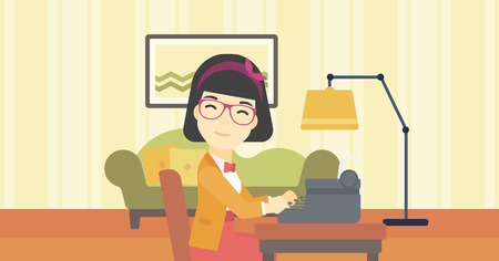 An asian female journalist writing an article on a vintage typewriter on the background of living room. Female journalist at work smoking pipe. Vector flat design illustration. Horizontal layout.