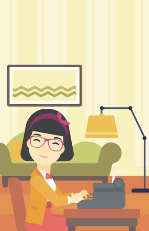 article writing: An asian female journalist writing an article on a vintage typewriter on the background of living room. Female journalist at work smoking pipe. Vector flat design illustration. Vertical layout.