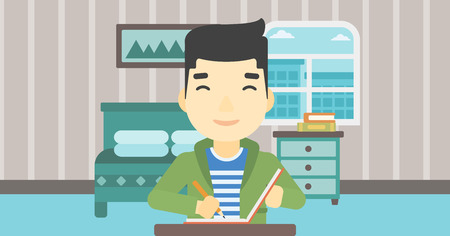 article writing: An asian journalist sitting at the table and writing in notebook with pencil. Journalist writing notes on the background of bedroom . Vector flat design illustration. Horizontal layout. Illustration