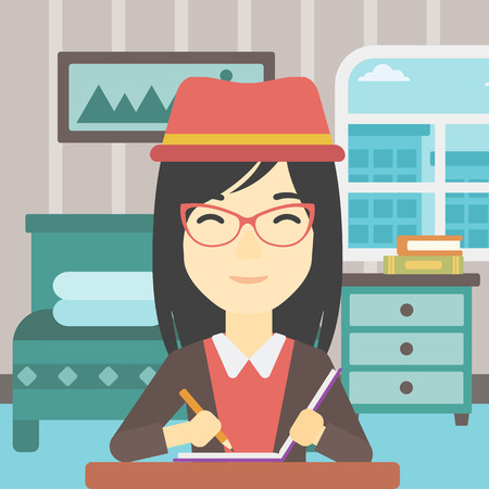article writing: An asian female journalist sitting at the table and writing in notebook with pencil. Female journalist writing notes on the background of bedroom. Vector flat design illustration. Square layout.