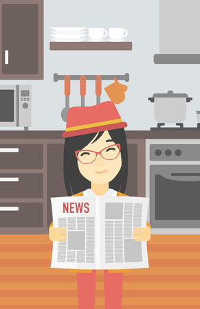 gazette: An asian happy woman reading the newspaper. Young smiling woman reading good news. Woman with newspaper in hands on the background of kitchen. Vector flat design illustration. Vertical layout. Illustration