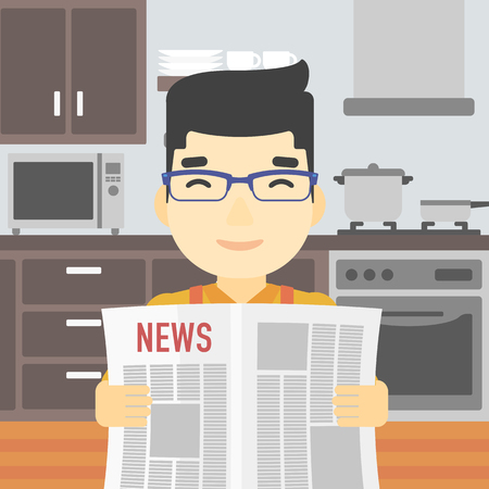 An asian happy man reading the newspaper. Young smiling man reading good news. Man with newspaper in hands on the background of kitchen. Vector flat design illustration. Square layout. Illustration