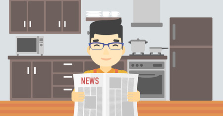 An asian happy man reading the newspaper. Young smiling man reading good news. Man with newspaper in hands on the background of kitchen. Vector flat design illustration. Horizontal layout.