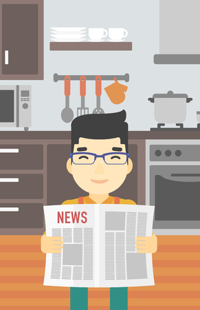 gazette: An asian happy man reading the newspaper. Young smiling man reading good news. Man with newspaper in hands on the background of kitchen. Vector flat design illustration. Vertical layout.