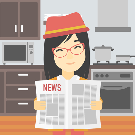 gazette: An asian happy woman reading the newspaper. Young smiling woman reading good news. Woman with newspaper in hands on the background of kitchen. Vector flat design illustration. Square layout.