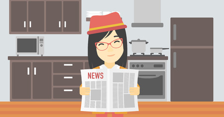 gazette: An asian happy woman reading the newspaper. Young smiling woman reading good news. Woman with newspaper in hands on the background of kitchen. Vector flat design illustration. Horizontal layout.
