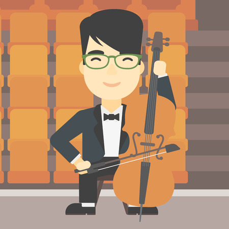 theater man: An asian young man playing cello. Cellist playing classical music on cello. Young man with cello and bow on the background of empty theater seats. Vector flat design illustration. Square layout. Illustration