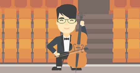Een Aziatische jonge man spelen cello. Cellist klassieke muziek op cello. Jonge mens met cello en boog op de achtergrond van de lege theater zitplaatsen. Vector platte ontwerp illustratie. Horizontale lay-out.