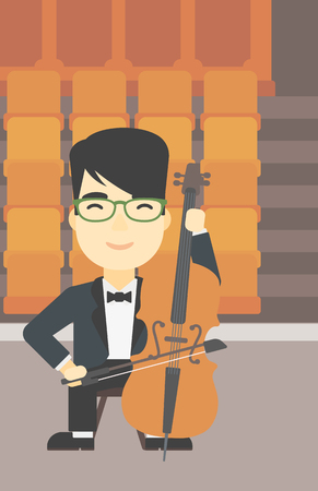 Een Aziatische jonge man spelen cello. Cellist klassieke muziek op cello. Jonge mens met cello en boog op de achtergrond van de lege theater zitplaatsen. Vector platte ontwerp illustratie. Verticale lay-out.