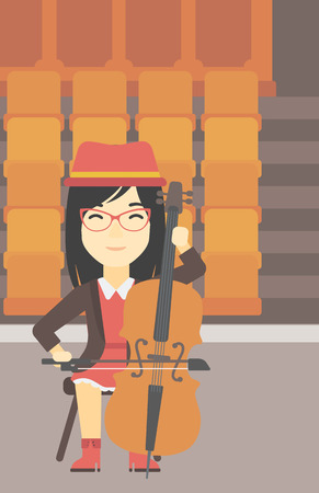 fiddlestick: An asian young woman playing cello. Cellist playing classical music on cello. Young woman with cello and bow on the background of empty theater seats. Vector flat design illustration. Vertical layout.