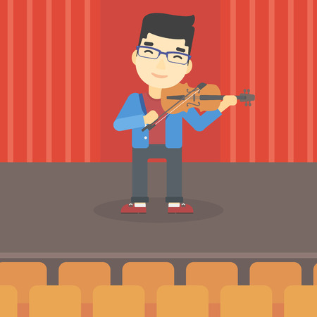 fiddlestick: An asian young man playing violin. Violinist playing classical music on violin. Man with violin standing on the stage. Vector flat design illustration. Square layout.