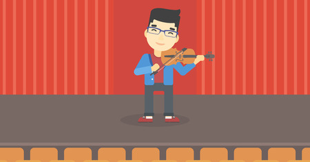 fiddle bow: An asian young man playing violin. Violinist playing classical music on violin. Man with violin standing on the stage. Vector flat design illustration. Horizontal layout. Illustration