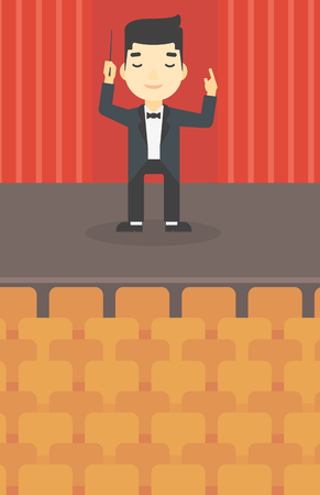 maestro: An asian young orchestra conductor directing with baton. Concentrated man conducting an orchestra on the stage. Vector flat design illustration. Vertical layout.