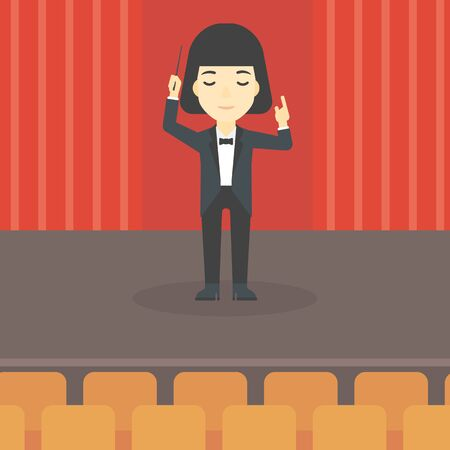 baton: An asian young orchestra conductor directing with baton. Concentrated woman conducting an orchestra on the stage. Vector flat design illustration. Square layout.