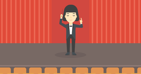 baton: An asian young orchestra conductor directing with baton. Concentrated woman conducting an orchestra on the stage. Vector flat design illustration. Horizontal layout.