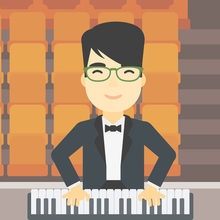 An asian smiling musician playing piano. Pianist playing upright piano. Male artist playing on synthesizer. Vector flat design illustration. Square layout.
