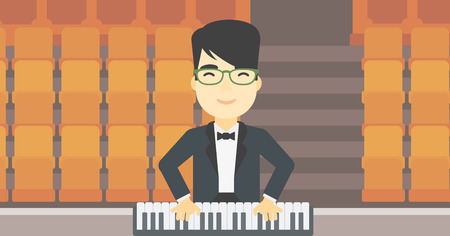 upright piano: An asian smiling musician playing piano. Pianist playing upright piano. Male artist playing on synthesizer. Vector flat design illustration. Horizontal layout.