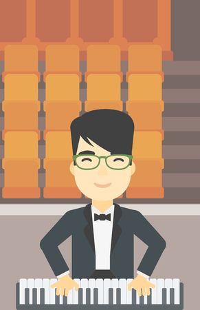 upright: An asian smiling musician playing piano. Pianist playing upright piano. Male artist playing on synthesizer. Vector flat design illustration. Vertical layout.