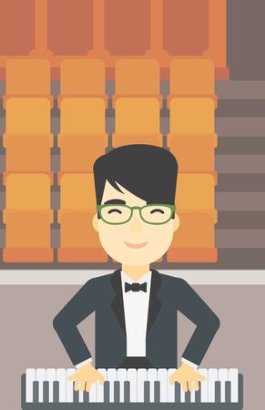 tocando piano: Una asi�tica sonriente m�sico tocando el piano. Pianista tocando piano vertical. artista masculino que juega en el sintetizador. Vector de dise�o plano ilustraci�n. disposici�n vertical.