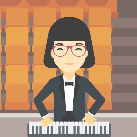 upright piano: An asian smiling musician playing piano. Pianist playing upright piano. Female artist playing on synthesizer. Vector flat design illustration. Square layout. Illustration