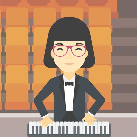 tocando el piano: Una asiática sonriente músico tocando el piano. Pianista tocando piano vertical. Artista de sexo femenino que juega en el sintetizador. Vector de diseño plano ilustración. de planta cuadrada.