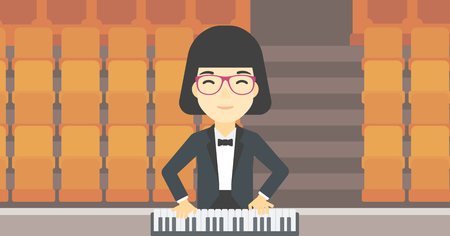 An asian smiling musician playing piano. Pianist playing upright piano. Female artist playing on synthesizer. Vector flat design illustration. Horizontal layout.