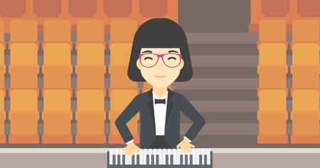 tocando el piano: Una asiática sonriente músico tocando el piano. Pianista tocando piano vertical. Artista de sexo femenino que juega en el sintetizador. Vector de diseño plano ilustración. disposición horizontal.