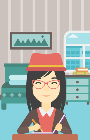 writer: An asian female journalist sitting at the table and writing in notebook with pencil. Female journalist writing notes on the background of bedroom. Vector flat design illustration. Vertical layout.