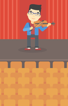 violinist: An asian young man playing violin. Violinist playing classical music on violin. Man with violin standing on the stage. Vector flat design illustration. Vertical layout. Illustration