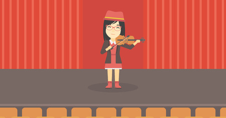An asian young woman playing violin. Violinist playing classical music on violin. Woman with violin standing on the stage. Vector flat design illustration. Horizontal layout. 矢量图像