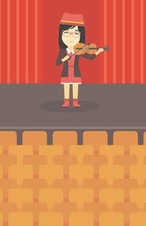 fiddlestick: An asian young woman playing violin. Violinist playing classical music on violin. Woman with violin standing on the stage. Vector flat design illustration. Vertical layout.