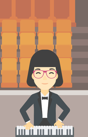 upright piano: An asian smiling musician playing piano. Pianist playing upright piano. Female artist playing on synthesizer. Vector flat design illustration. Vertical layout.