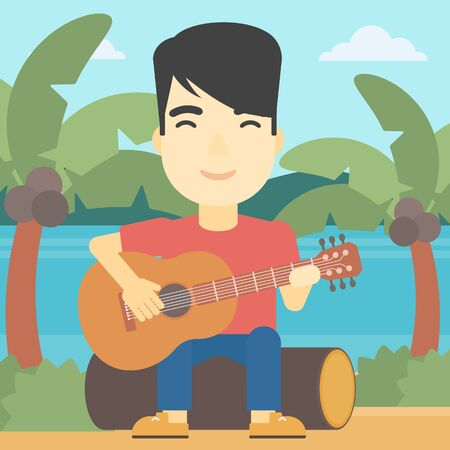 An asian happy musician sitting on log and playing an acoustic guitar. Man practicing in playing guitar. Guitarist playing on the tropical beach. Vector flat design illustration. Square layout.