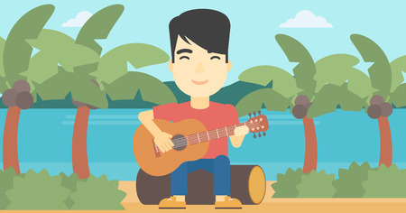 An asian happy musician sitting on log and playing an acoustic guitar. Man practicing in playing guitar. Guitarist playing on the tropical beach. Vector flat design illustration. Horizontal layout.