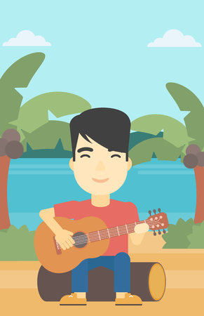 An asian happy musician sitting on log and playing an acoustic guitar. Man practicing in playing guitar. Guitarist playing on the tropical beach. Vector flat design illustration. Vertical layout. Illustration